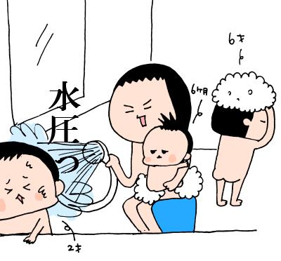 自分が髪を乾かす暇はない!?0歳、2歳、5歳児と同時に入浴する方法とは! ハナペコ絵日記<18>の画像7