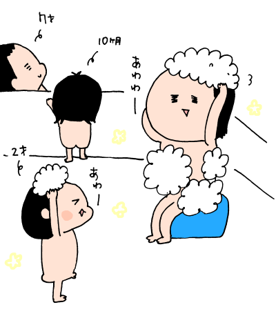 自分が髪を乾かす暇はない!?0歳、2歳、5歳児と同時に入浴する方法とは! ハナペコ絵日記<18>の画像8