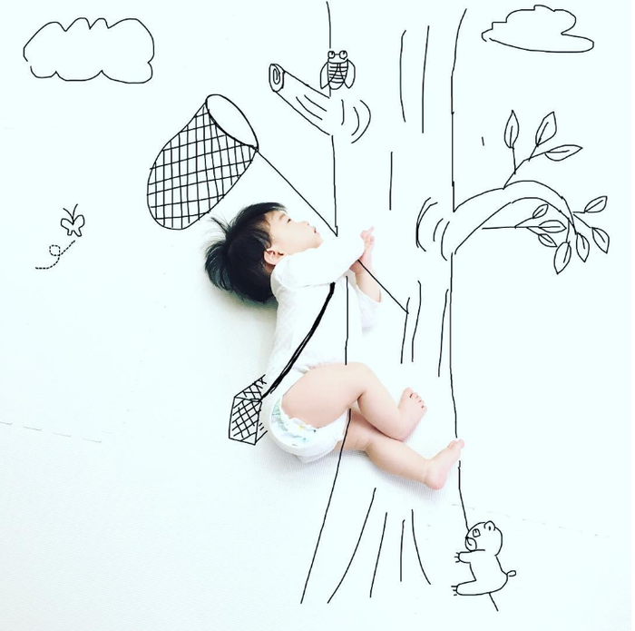 寝相アートに新ジャンル?インスタママが描く「寝相らくがきアート」の世界観が、好き♡の画像7