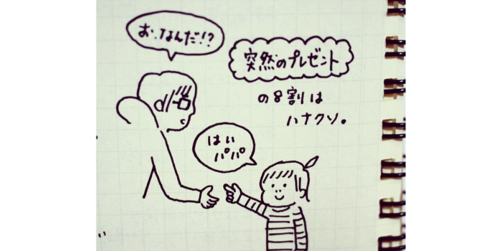 「はいパパ♡」突然のプレゼントの8割はハナ◯ソ!?娘ちゃんにメロメロなパパのリアクション集のタイトル画像